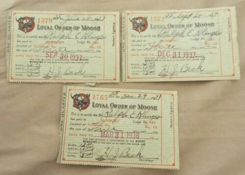 SUNBURY, PA 1937 LOYAL ORDER OF MOOSE DUES CARDS