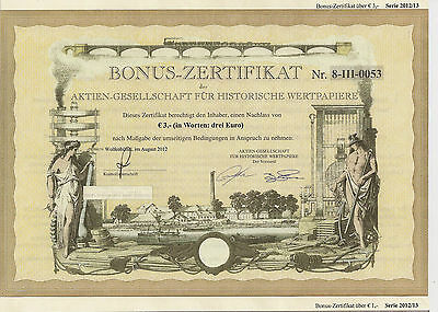 Bonus-Zertifikat AG für Historische Wertpapiere Wolfenbüttel