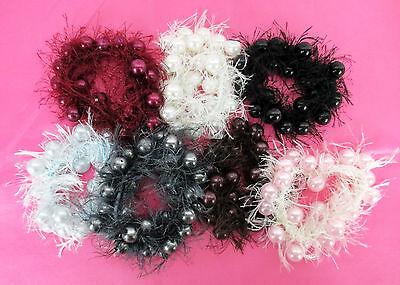 WHOLESALE LOT OF 12 FASHION HAIR SCRUNCHIES, HAIR TWISTER, BEADS W/ THREAD (Wholesale Scrunchies)