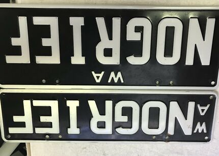 Licence Plates Retro Aluminium Whitebon Black       NOGRIEF