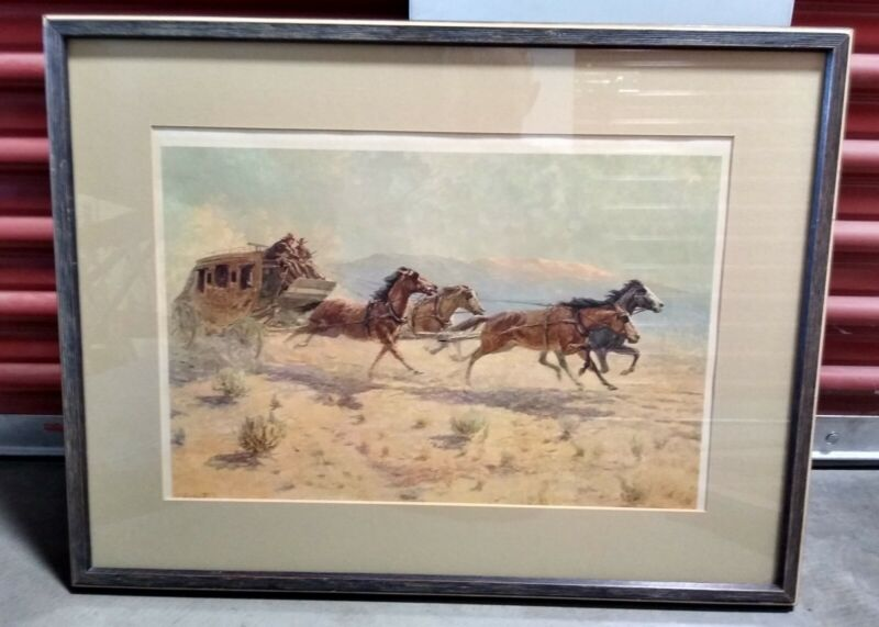 Litho Western Art Print Stagecoach By Olaf Wieghorst Signed