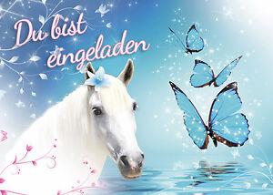 9 Einladungskarten zum Kindergeburtstag Pferd - Geburtstag Mädchen 12