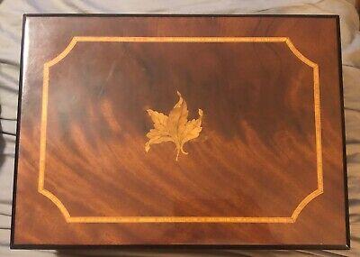 Savinelli 1876 Italy Large Burl Wood Humidor Leaf Inlay