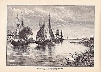 Holtenau Brunsbüttel - Bauphase Nord-Ostsee-Kanal 1889 - Holzstiche + Texte
