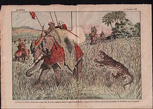 """Elephants Hunting Prince of Wales Tiger Maharajahs India Inde 1921 ILLUSTRATION - France - Commentaires du vendeur : """"OCCASION"""" - France"""