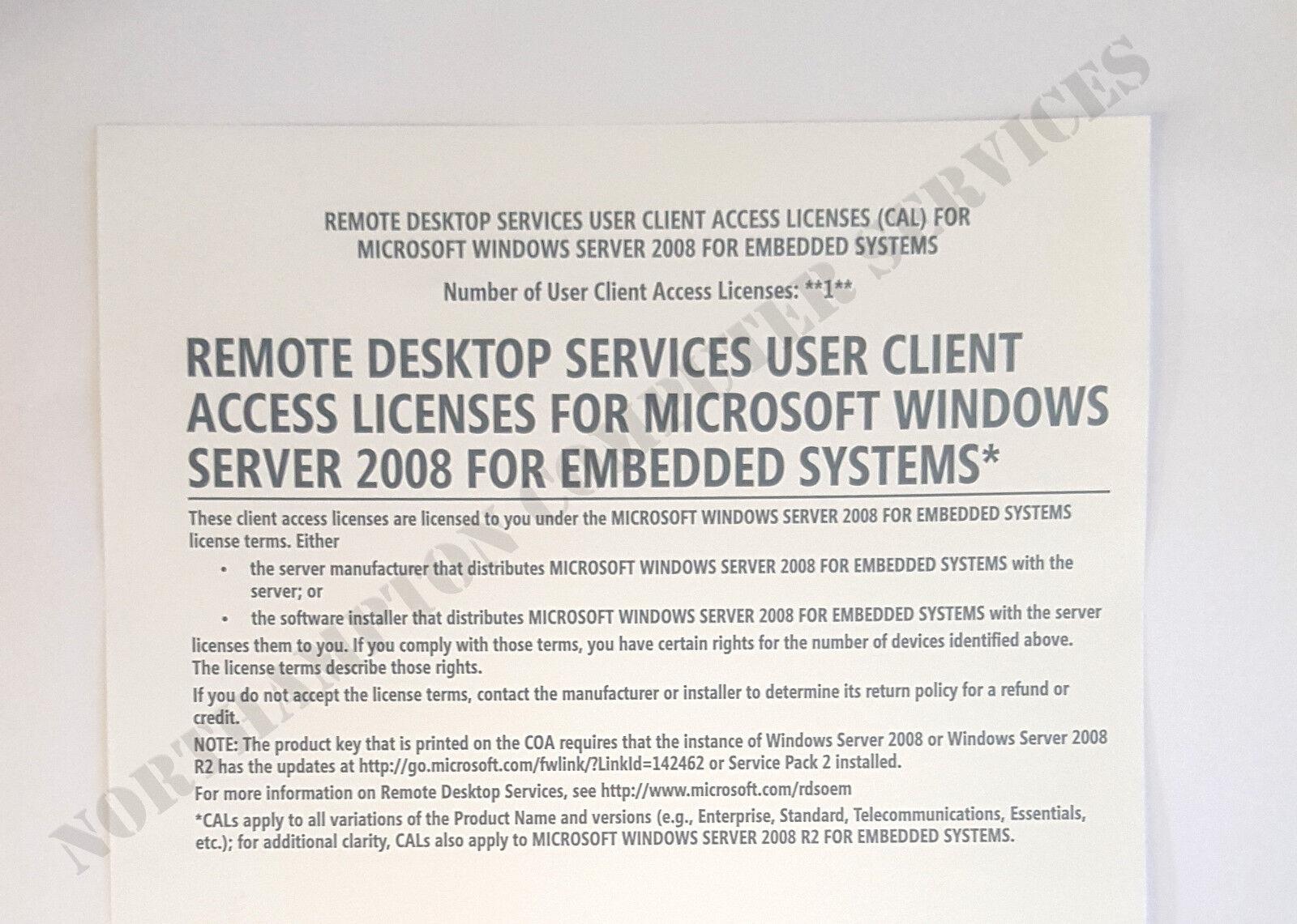 Details about Windows Server 2008 Terminal Services 1 CAL RDS For Embedded  Remote Desktop -VAT