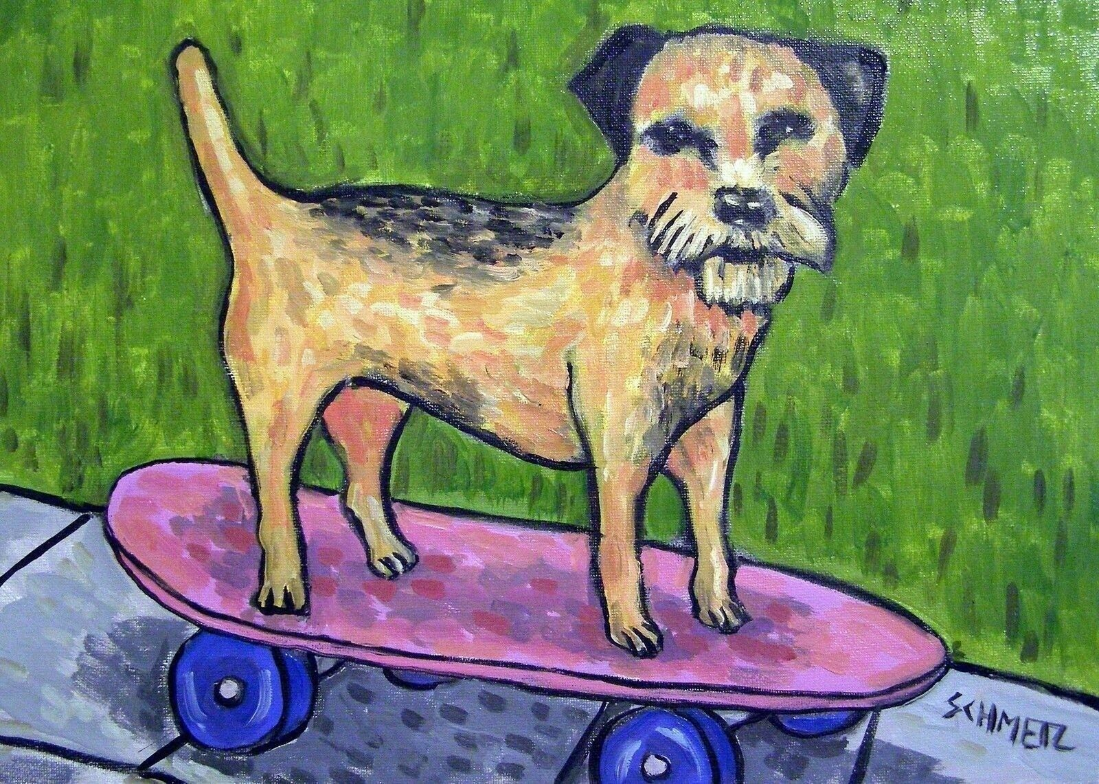 Norfolk terrier dog skateboarding  dog art print 13x19 glossy print