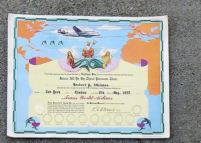 1955 Twa Oceanus Atlanticus Realm Neptune Rex Certificate  Ny   Lisbon