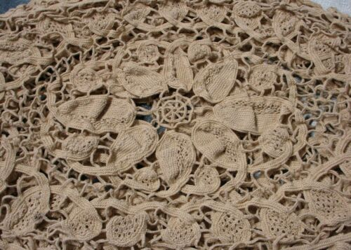 Antique 3 Ecru Tape Lace with Needle Lace Filling Oval Mats Floral Medallion