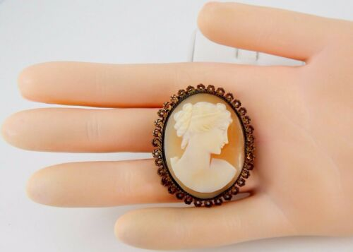 Victorian Era Shell Cameo Brooch--Authentic Antique