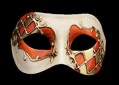 Mask from Venice Colombine Harlequin Orange and Golden for Prom Mask 924 V82