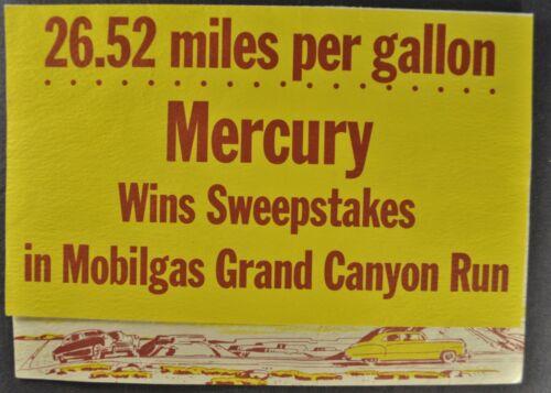 1950 Mercury Mobilgas Grand Canyon Run Brochure Folder Nice Original 50