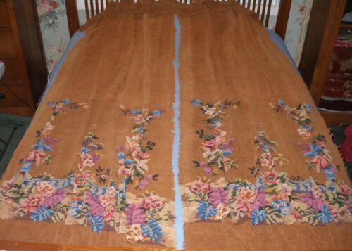 Pair c.1920 Antique English Chenille Portieres, Doorway Drapes, Rare Matched Set