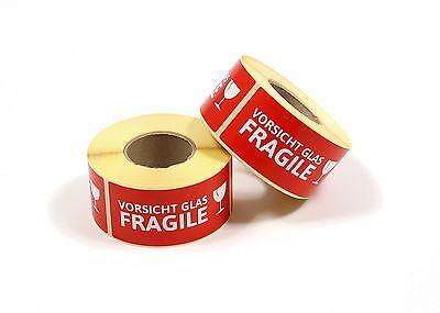 """Aufkleber """"VORSICHT GLAS / FRAGILE"""" Etiketten 500 Stück auf Rolle - Sticker"""