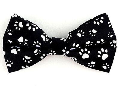 Bow Wow Meow Bow Tie Mens Adjustable Dog Cat Animal Fun Paw Print Black Bowtie - Fun Bow Ties