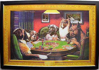 Dogs playing poker night Framed Under UV Glass Gambling Man cave 5 card draw