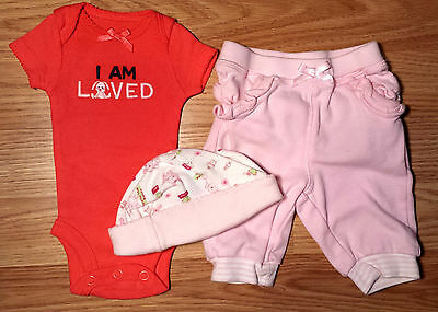 Girls Size P Preemie 3 Pc Pink Carters I Am Loved Bunny Top   Tcp Pants   Cap