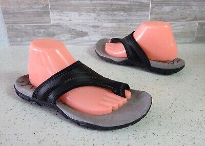 NEW Women's MERRELL Sandspur Delta Black Leather Toe Loop Flip Flop Sandals 8/39