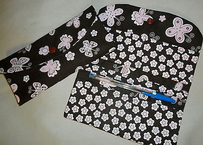 - NEW FABRICS Handmade Cotton Fabric Checkbook Covers with Card Pockets and Pen