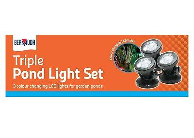 Triple Garden Pond Lighting Set Suitable for Ponds or Garden Use 3 Light Pack