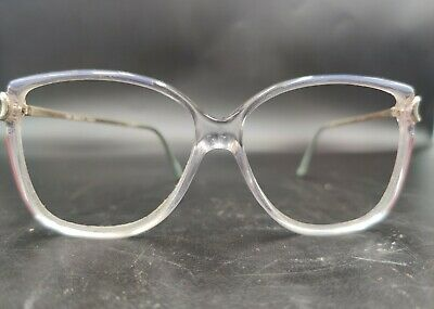 Vintage Gucci French 130 Women's Clear & Red Oversize Eyeglasses Frames USED