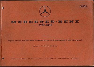 Mercedes Benz 230 S 1965 Original Garage Spare Parts List German English French