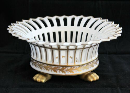 Goodfriend Fine Porcelain Spain Reticulated White Centerpiece Bowl Gilt Paw Feet