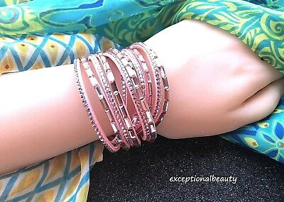 Pink Crystal Rhinestone Leather Multi Wrap Around Snap Adjustable Bracelet