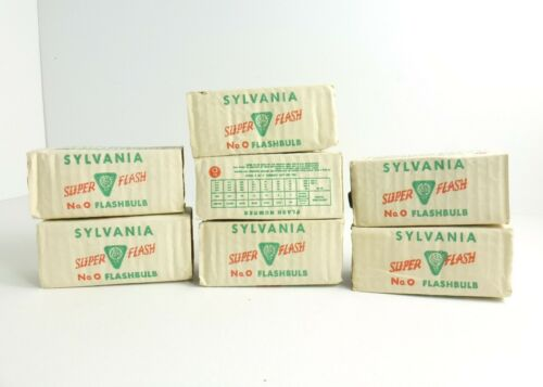 Lot of 7 Vintage Sylvania No. 0 Super Flash Flashbulbs