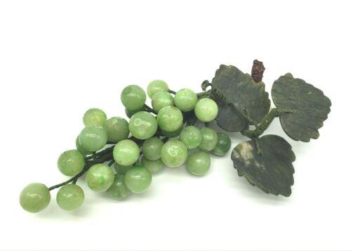 Vintage Grape Cluster Marbled Stone Jade Green Soapstone Leaves Mid Century