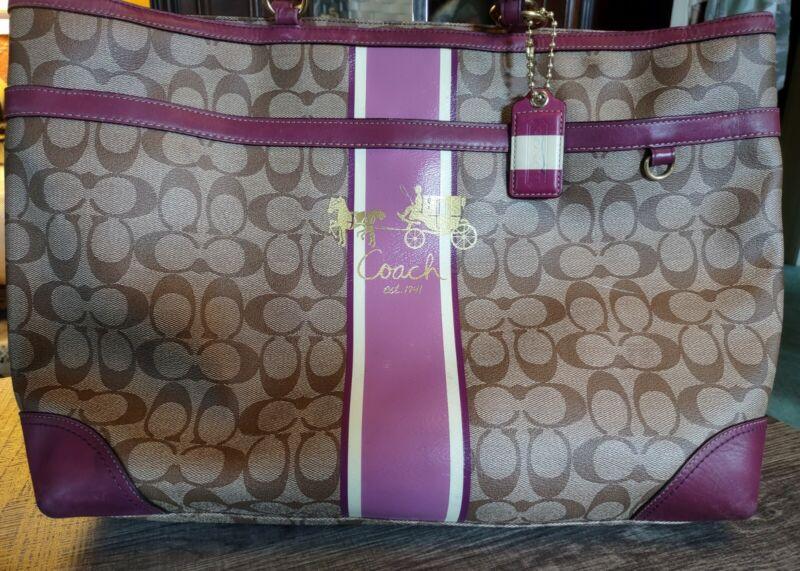 COACH Signature Stripe Coated Canvas Diaper Bag 12357