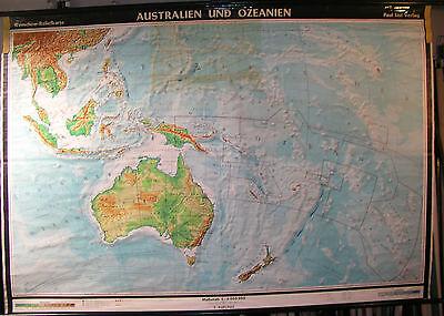 Schulwandkarte Rollkarte Australien Neuseeland Südsee Down under  239x166cm map
