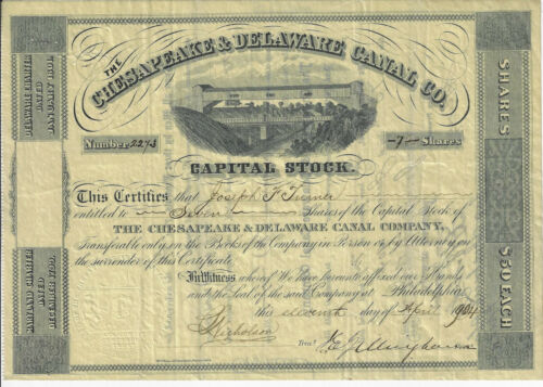 MARYLAND 1904 The Chesapeake & Delaware Canal Company Stock Certificate