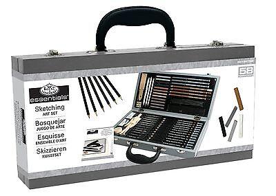 Royal Deluxe Sketching Artist Box Set Kit. Art Drawing Charcoal Pencils Pastels