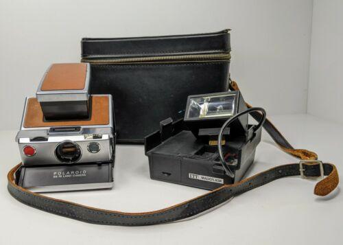 Vtg Polaroid SX-70 Land Camera Folding Instant Film ITT MagicFlash With Kali-Bag