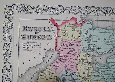 1856 MAP of RUSSIA in EUROPE Hand Colored