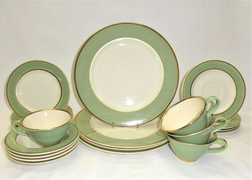 Vtg 20 Pcs Taylor Smith & T ~ Classic Heritage Celadon Green ~ 4 Place Settings