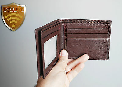 Mens RFID protection brown butter soft leather slim wallet, Gorgeous!