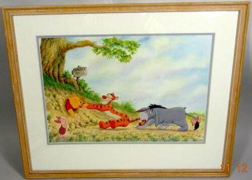 Winnie the Pooh Framed Art Print Piglet Tigger Eeyore Large 21x17 1995 Minty