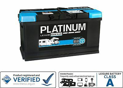 12V 100AH Platinum AGM Deep Cycle Leisure Marine Battery - NCC Approved Class A