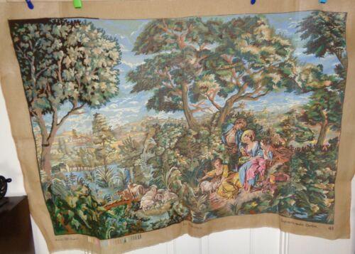 "Huge Royal Paris La Pastorale Needlepoint Canvas 35 X 52"" Started REDUCED"