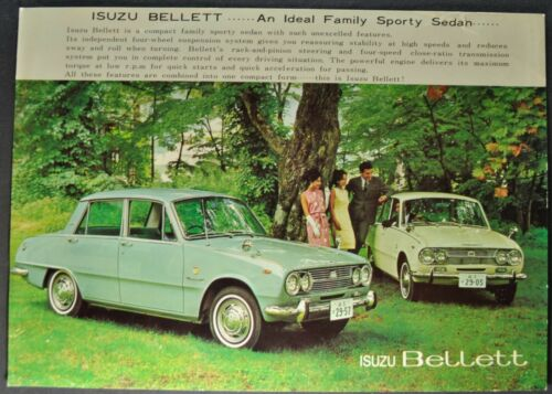 1965-1966 Isuzu Bellett Sales Brochure Sheet Sedan Nice Original