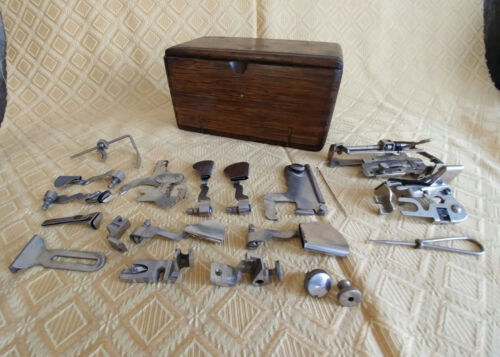 1889 Antique Sewing Box Wood Old Vintage Machine With Accessory Accessories