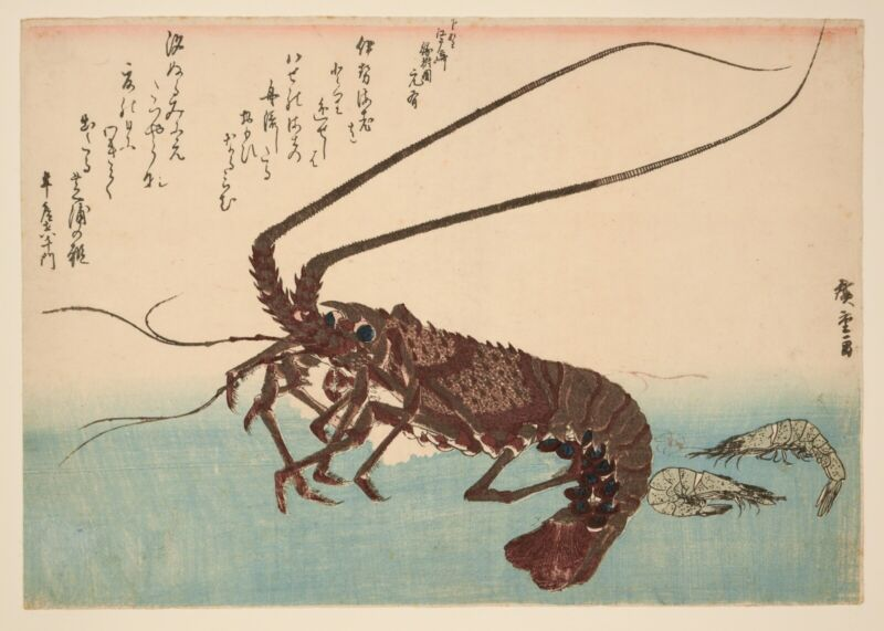 RARE Original Japanese Woodblock Print - Hiroshige - Lobster and Prawn + Book