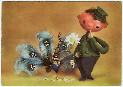 AK Puppe DDR, Puppenkarte / Puppenjunge mit Pfau, 1963