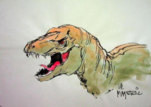 VAL MAYERIK Signed KA-ZAR  Tyrannosaurus Rex Hand Painted Marvel Comics Art 8x11