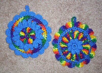PAIR OF PUFF-STITCH ROUND POTHOLDERS, Crochet, MEXICANA & BLUE, New, HANDMADE
