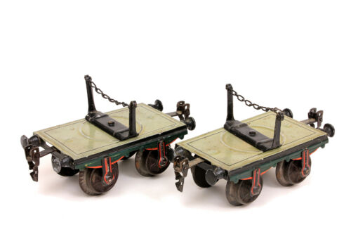 Vintage Marklin LOT of 2 Lumber Flat Cars Tinplate