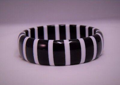 Thick Black White Striped Vintage style  Lucite Bangle Bracelet