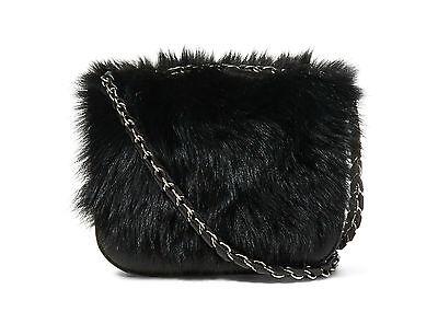 Polo Ralph Lauren Womens Black Leather Lamb Shearling Fur Shoulder Messenger Bag